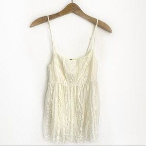 Hazel Hazel Off White Sequen Baby Doll Tank Top